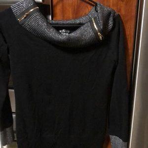 Blk with silver sparkle neckline Venus Sweater